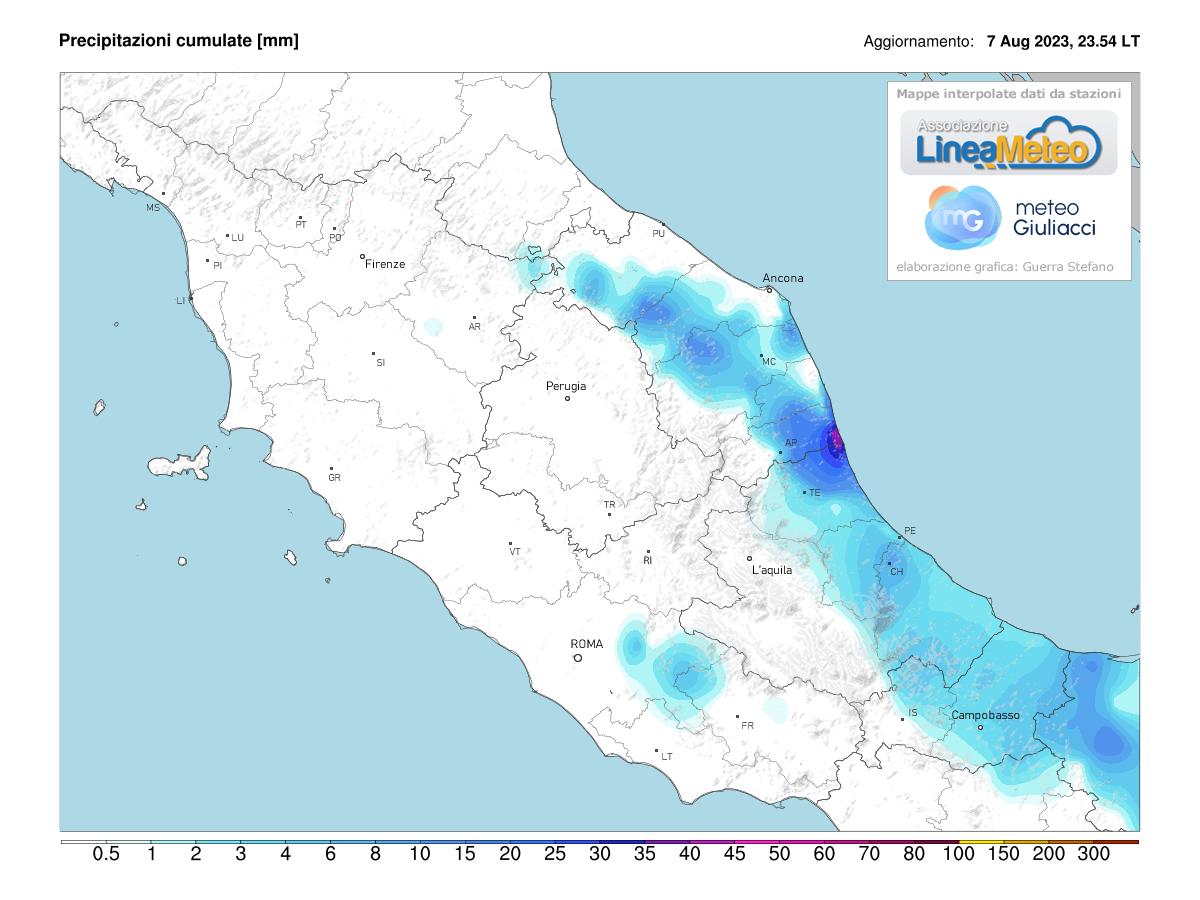 Precipitazioni, settore Centro