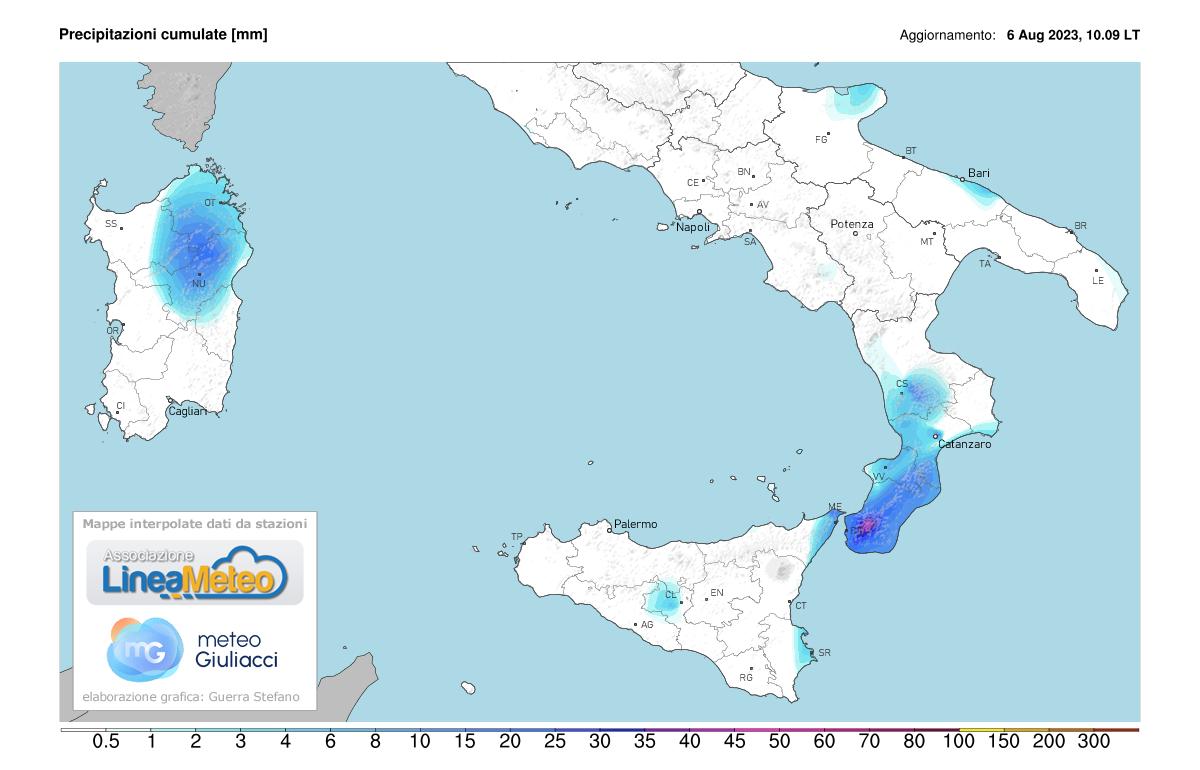 Precipitazioni, settore Sud